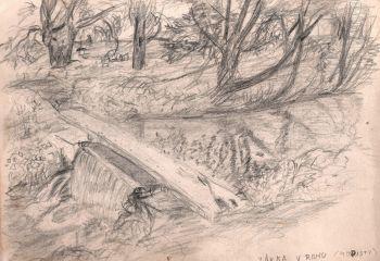 Petr Nejtek: Lávka v rohu - původní splav na Staré Ohři u našeho pole