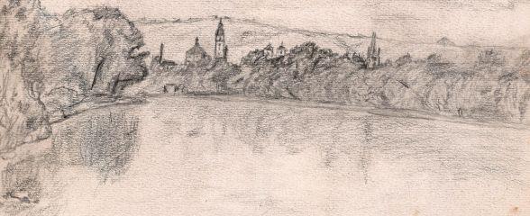 Petr Nejtek: Pohled na Litoměřice ze soutoku Staré Ohře a Labe